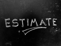 Estimate Handwritten on Blackboard. As JPG File stock photography