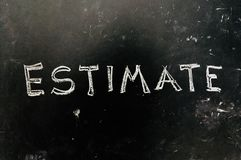 Estimate Handwritten on Blackboard. As JPG File stock photos