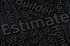 Estimate  ,Word cloud art on blackboard.  Royalty Free Stock Images