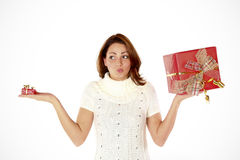 Estimating The Christmas Presents Stock Photography