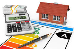Estimation de rendement énergétique avec la maison photos libres de droits