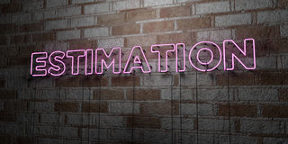 ESTIMATION - Glowing Neon Sign on stonework wall - 3D rendered royalty free stock illustration Stock Photo