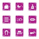 Estimation icons set, grunge style. Estimation icons set. Grunge set of 9 estimation vector icons for web isolated on white background royalty free illustration