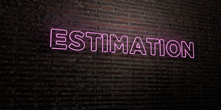 ESTIMATION -Realistic Neon Sign on Brick Wall background - 3D rendered royalty free stock image. Can be used for online banner ads and direct mailers Stock Photos
