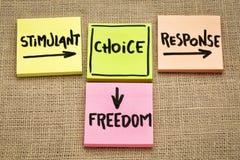 Estimulante, opción, respuesta y concepto de la libertad imagen de archivo libre de regalías