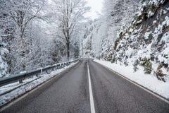Estiramento reto de uma estrada da montanha através de Forest Covered na neve fresca fotos de stock