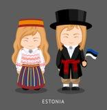 Estländare i nationell klänning med en flagga stock illustrationer
