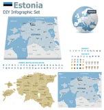 Estland översikter med markörer royaltyfri illustrationer