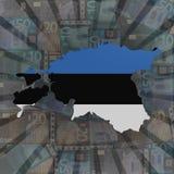 Estland översiktsflagga på eurosunburstillustration vektor illustrationer