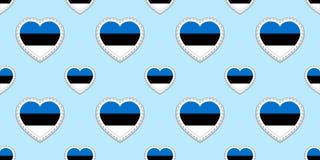 Estland bakgrund Sömlös modell för estländsk flagga Vektorstikers Förälskelsehjärtasymboler Bra val för språkkurser, sportar stock illustrationer