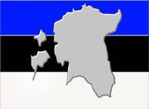 Estland flagga med översikten Arkivbild
