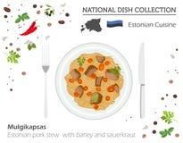 Estland kokkonst Europeisk nationell maträttsamling Estländsk por stock illustrationer