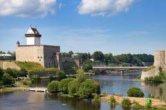 Estland Narva Ancient vesting op grens met Rusland royalty-vrije stock fotografie