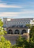Estland Narva Waterkrachtcentrale op de rivier Narva royalty-vrije stock fotografie