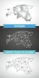 Estland-Satz Grau und polygonale Karten des Silbermosaiks 3d Stockbilder