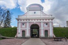 Estland - stad av den Parnu - Tallinn porten i Parnu - Showplace royaltyfria bilder