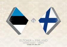 Estland vs Finland, liga C, grupp 2 Europa fotbollcompetiti Stock Illustrationer