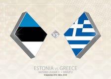 Estland vs Grekland, liga C, grupp 2 Europa fotbollcompetitio Royaltyfri Illustrationer