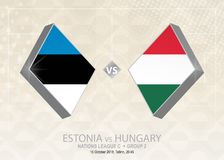 Estland vs Ungern, liga C, grupp 2 Europa fotbollcompetiti Stock Illustrationer