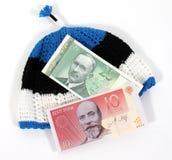 Estlandse Munt op Estlandse Hoed Royalty-vrije Stock Afbeeldingen