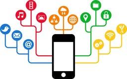 Smartphone y iconos sociales de los medios, comunicación en las redes de ordenadores globales Imágenes de archivo libres de regalías