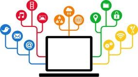 Ordenador portátil y iconos sociales de los medios, comunicación en las redes de ordenadores globales ilustración del vector