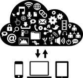 Red social, comunicación en las redes de ordenadores globales stock de ilustración
