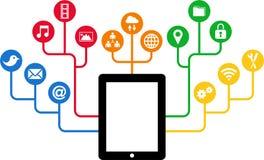 Tableta y iconos sociales de los medios, comunicación en las redes de ordenadores globales ilustración del vector