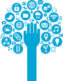 Los medios y los iconos sociales del negocio con entregan Imagenes de archivo