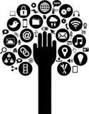 Los medios y los iconos sociales del negocio con entregan stock de ilustración
