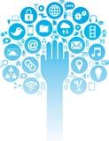 Los medios y los iconos sociales del negocio con entregan ilustración del vector
