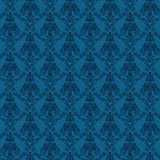 Esto es un modelo inconsútil del damasco en color azul. Esto es un fichero del ejemplo del modo del color del RGB creado en el ilu Foto de archivo libre de regalías