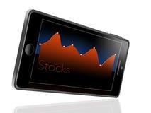 Esto ilustra tener un app del mercado de acción en su teléfono celular libre illustration