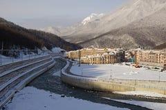 Esto-Sadok (Sochi, Ryssland) är en av den bästa vintern skidar semesterorter i subtropiska trakterna Arkivfoto