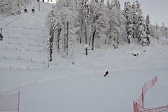 Esto-Sadok (Sochi, Ryssland) är en av den bästa vintern skidar semesterorter i subtropiska trakterna Royaltyfri Fotografi