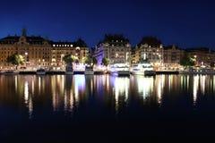 Estocolmo de Night, Suecia Fotos de archivo libres de regalías