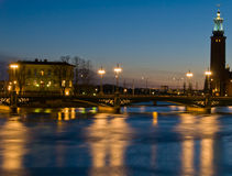 Estocolmo en la noche Imagen de archivo