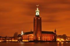 Estocolmo por noche Foto de archivo libre de regalías