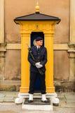 ESTOCOLMO, SUECIA - CIRCA 2016 - un guardia se coloca inmóvil en sus posts en Royal Palace que está en la ciudad vieja fotografía de archivo