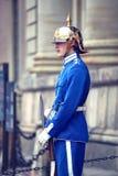 ESTOCOLMO, SUECIA - 20 DE AGOSTO DE 2016: Guardias reales suecos del hon Foto de archivo libre de regalías