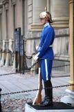 ESTOCOLMO, SUECIA - 20 DE AGOSTO DE 2016: Guardias reales suecos del hon Imagen de archivo libre de regalías