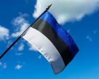 Estończyk flaga trzymająca up przeciw niebieskiemu niebu Fotografia Royalty Free