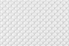 Estofamento de couro Sofa Background Sofá luxuoso branco da decoração Textura elegante do couro branco com os botões para o teste Fotos de Stock