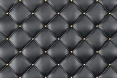 Estofamento de couro Sofa Background Sofá luxuoso preto da decoração Textura de couro preta elegante com os botões para o teste p Foto de Stock