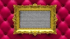Estofamento luxuoso vermelho no fundo O ruído da tevê e o croma verde fecham jogos na tela na moldura para retrato ornamentado do ilustração royalty free