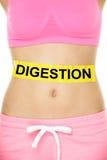 Estomac conceptuel de femme de digestion avec le texte Photo stock