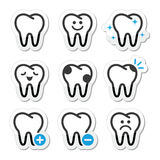 Diente, iconos de los dientes fijados Fotos de archivo libres de regalías