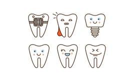 Estomatología y línea dental sistema de los iconos, dientes lindos con diverso ejemplo del vector de las expresiones faciales en  stock de ilustración
