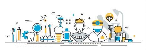 Estomatología y portada del servicio del dentista para el sitio web de aterrizaje de la página Fotos de archivo libres de regalías