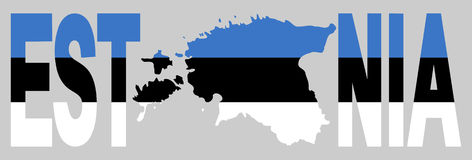 estonia översiktstext royaltyfri illustrationer